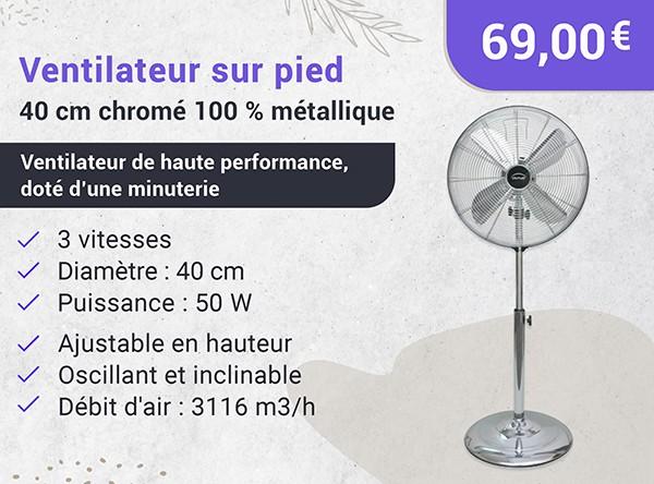 DOMAIR PM40 BLANC - Ventilateur Sur Pied