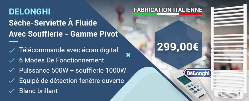DELONGHI - Sèche-Serviette À Fluide Avec Soufflerie - Gamme Pivot